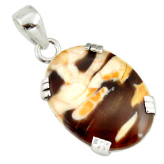 14.25cts natural brown peanut petrified wood fossil 925 silver pendant r20090
