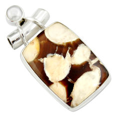 16.62cts natural brown peanut petrified wood fossil 925 silver pendant r20091
