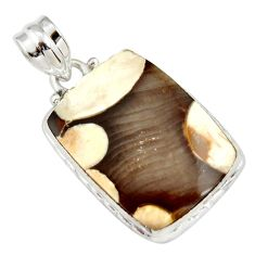 15.65cts natural brown peanut petrified wood fossil 925 silver pendant r20093