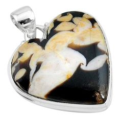 20.65cts natural brown peanut petrified wood fossil 925 silver pendant t13241