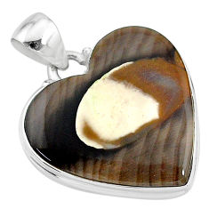 17.57cts natural brown peanut petrified wood fossil 925 silver pendant t13242