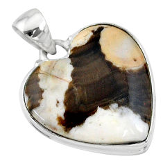 18.70cts natural brown peanut petrified wood fossil 925 silver pendant t13249
