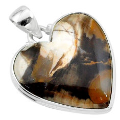 18.70cts natural brown peanut petrified wood fossil 925 silver pendant t13261