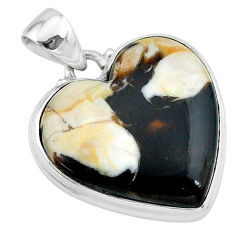 19.20cts natural brown peanut petrified wood fossil 925 silver pendant t13272