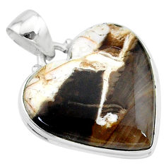 16.20cts natural brown peanut petrified wood fossil 925 silver pendant t13277