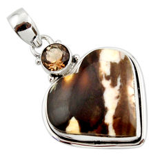 16.48cts natural brown peanut petrified wood fossil heart silver pendant r43961