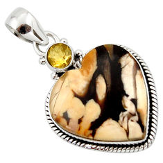 15.72cts natural brown peanut petrified wood fossil heart silver pendant r43963