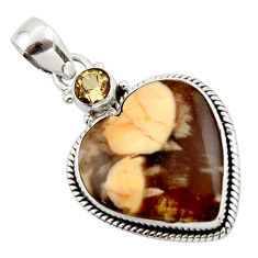14.72cts natural brown peanut petrified wood fossil heart silver pendant r43964