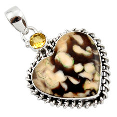 16.06cts natural brown peanut petrified wood fossil heart silver pendant r43965
