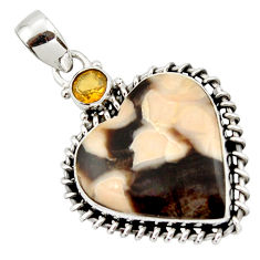 15.67cts natural brown peanut petrified wood fossil heart silver pendant r43966