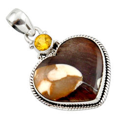 14.23cts natural brown peanut petrified wood fossil heart silver pendant r43967