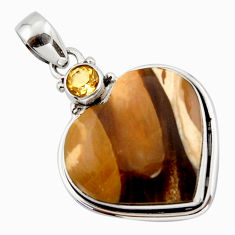 18.43cts natural brown peanut petrified wood fossil heart silver pendant r43968