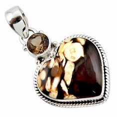 13.67cts natural brown peanut petrified wood fossil heart silver pendant r43970