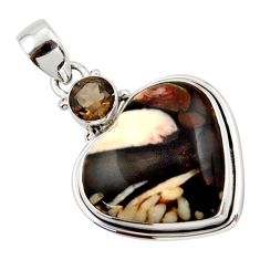 16.85cts natural brown peanut petrified wood fossil heart silver pendant r43971