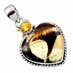 14.65cts natural brown peanut petrified wood fossil heart silver pendant r43972