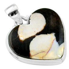 19.20cts natural brown peanut petrified wood fossil heart silver pendant t13259