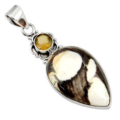 18.68cts natural brown peanut petrified wood fossil pear silver pendant d41363