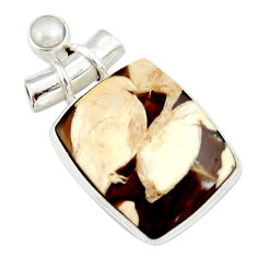15.05cts natural brown peanut petrified wood fossil pearl silver pendant r20092