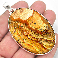 78.58cts natural brown picture jasper 925 sterling silver pendant jewelry t41869