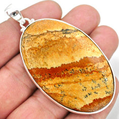 69.55cts natural brown picture jasper 925 sterling silver pendant jewelry t41876