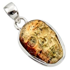 Clearance Sale- 14.18cts natural brown picture jasper carving 925 silver skull pendant d45227