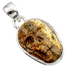 14.20cts natural brown picture jasper carving 925 silver skull pendant d45228