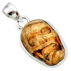 Clearance Sale- 13.70cts natural brown picture jasper carving 925 silver skull pendant d45239