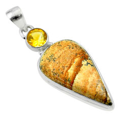 20.88cts natural brown picture jasper citrine 925 sterling silver pendant t54777