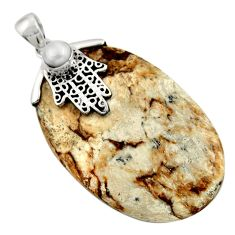 Clearance Sale- 52.60cts natural brown picture jasper silver hand of god hamsa pendant d45521
