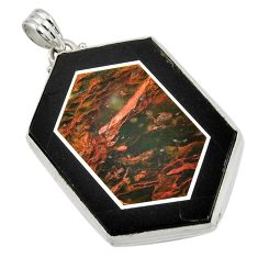 Clearance Sale- 59.10cts natural brown pietersite (african) 925 sterling silver pendant d42794