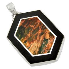 Clearance Sale- 59.81cts natural brown pietersite (african) 925 sterling silver pendant d42802