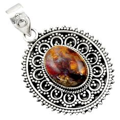 6.96cts natural brown pietersite (african) 925 sterling silver pendant d44981