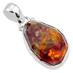 15.08cts natural brown pietersite (african) 925 sterling silver pendant r51085