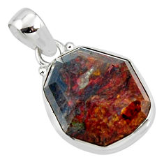 16.73cts natural brown pietersite (african) 925 sterling silver pendant r51088