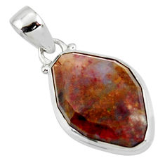 14.72cts natural brown pietersite (african) 925 sterling silver pendant r51092