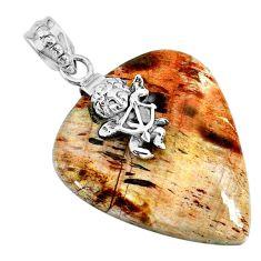 34.85cts natural brown plum wood jasper 925 sterling silver angel pendant r74552