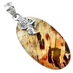 34.85cts natural brown plum wood jasper 925 sterling silver angel pendant r74553