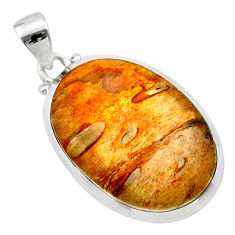 16.28cts natural brown plum wood jasper 925 sterling silver pendant t22462