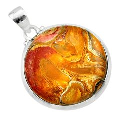 16.85cts natural brown plum wood jasper 925 sterling silver pendant t22464