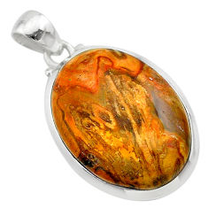 17.84cts natural brown plum wood jasper 925 sterling silver pendant t22473
