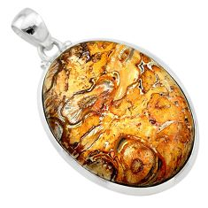 25.00cts natural brown plum wood jasper 925 sterling silver pendant t22487