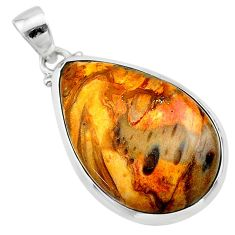 16.28cts natural brown plum wood jasper pear 925 sterling silver pendant t22486