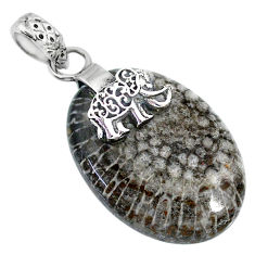 Clearance Sale- 20.90cts natural brown septarian gonads 925 silver elephant pendant r91427