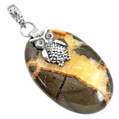 Clearance Sale- 26.43cts natural brown septarian gonads 925 sterling silver owl pendant r91430