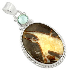 Clearance Sale- 23.95cts natural brown septarian gonads 925 sterling silver pendant d41510