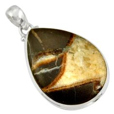 25.57cts natural brown septarian gonads 925 sterling silver pendant d41522