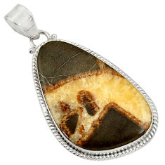 Clearance Sale- 25.03cts natural brown septarian gonads 925 sterling silver pendant d41523
