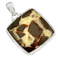 28.73cts natural brown septarian gonads 925 sterling silver pendant d41526