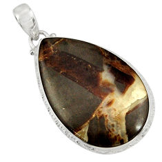 Clearance Sale- 29.93cts natural brown septarian gonads 925 sterling silver pendant d41530