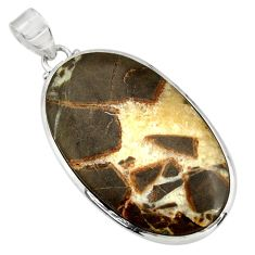 Clearance Sale- 36.48cts natural brown septarian gonads 925 sterling silver pendant d41536